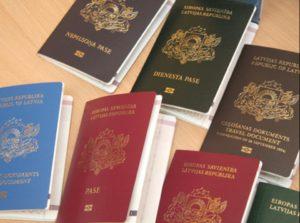 Různé pasy evropských zemí